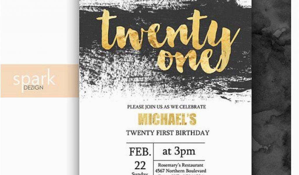 21st Birthday Invitations Male Modern 21st Birthday Invitation For