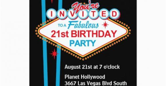 21st Birthday Vegas Invitations Las Vegas 21st Birthday Party Invitation Zazzle