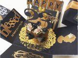 23rd Birthday Gifts for Boyfriend Custom 23rd Handmade Explosion Black and Gold Box Card