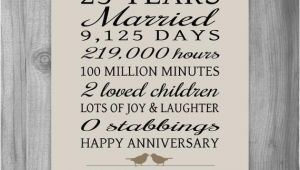25th Birthday Gifts for Husband 25 Year Anniversary Gift 25th Anniversary Art Print