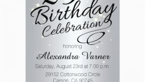 25th Birthday Invitation Templates 25th Birthday Invitations Silver Sparkly Invites