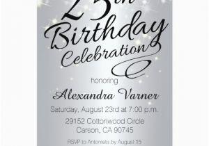 25th Birthday Invitation Templates Invitations Silver Sparkly Invites