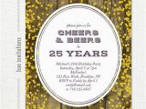 25th Birthday Invite 25th Birthday Invitation for Men Cheers Beers to 25 Years