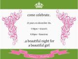 25th Birthday Invite 25th Birthday Invitation Wording Cimvitation