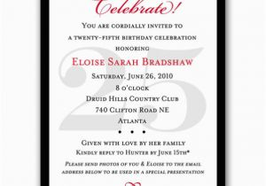 25th Birthday Invite Classic Celebrate Milestone Invitations