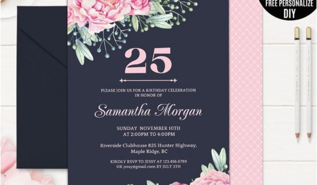 25th Birthday Invite Navy Invitation Template
