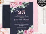 25th Birthday Invite Navy 25th Birthday Invitation Template Printable Pink