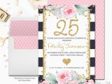 25th Birthday Invite Navy and Pink Floral 25th Birthday Invitation by