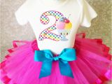 2nd Birthday Girl Outfits Ice Cream Scoops Hot Pink 2nd Second Birthday Shirt Tutu