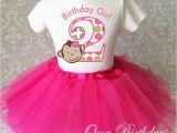 2nd Birthday Girl Outfits Pink Mod Monkey Party Dress 2nd Second Birthday Shirt Tutu