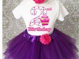 2nd Birthday Girl Outfits Purple Pink Polka Dot Cupcake 2nd Second Birthday Shirt