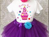 2nd Birthday Girl Outfits Purple Rainbow Cupcake Pink 2nd Second Birthday Shirt Tutu