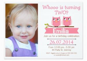 2nd Birthday Invitation Wording Samples Girls Photo Owl Zazzle