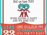 2nd Birthday Invitations for Twins Dr Suess Thing 1 Thing 2 Birthday Invitation by