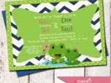 2nd Birthday Invitations for Twins Hoppy Froggy Custom Birthday Invitation Boy Girl