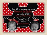 2nd Birthday Invitations for Twins Mickey and Minnie Mouse Twin Birthday Party Invitation