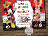 2nd Birthday Invitations for Twins Mickey Mouse and Minnie Mouse Birthday Invitation for Boys