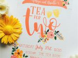 2nd Birthday Invitations for Twins Tea for Two Second Birthday Invitation Twin Second Birthday
