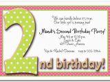 2nd Birthday Invite Wording 2nd Birthday Invitation Wording Ideas Bagvania Free