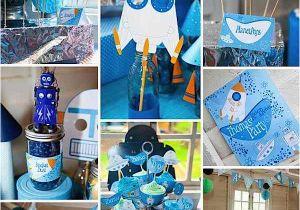 2nd Birthday Party Decorations Boy Kara 39 S Ideas Rockets Robots Space Future