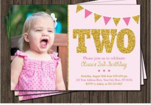 2nd Birthday Party Invites Pink And Gold Invitation Second