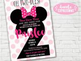 2nd Birthday Thank You Card Wording Printable Minnie Mouse 2nd Birthday Invitation