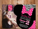 2nd Birthday Thank You Card Wording Printable Minnie Mouse Birthday Invitation Girls First