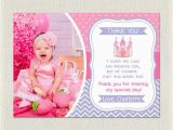 2nd Birthday Thank You Cards Princess Thank You Card Birthday Pink Purple 1st 2nd 3rd