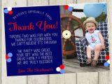 2nd Birthday Thank You Cards Second Birthday Thank You Card Nautical Thank You Card