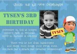 3 Year Old Boy Birthday Party Invitations 17 Best Images About Handy Manny Party On Pinterest