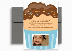 3 Year Old Boy Birthday Party Invitations Cupcakes Personalized Invitation 5x7