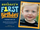 3 Year Old Boy Birthday Party Invitations Year Of Firsts 5×7 Photo Card Birthday Invitations