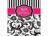 30th Birthday Decorations Black and White 30th Birthday Invitation Hot Pink Black White Stripes
