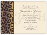 30th Birthday Invitation Wording Samples Cheetah 30th Birthday Invitations Paperstyle