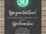 30th Birthday Invites Wording 30th Birthday Invitation Template Chalkboard Green Glitter