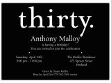 30th Birthday Invites Wording A Thirty White On Black 30th Birthday Invitations Paperstyle