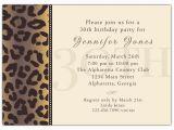 30th Birthday Invites Wording Cheetah 30th Birthday Invitations Paperstyle