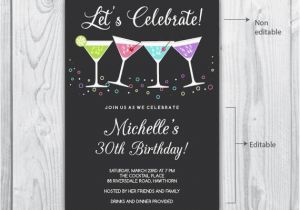 30th Birthday Party Invitations For Her Invitation 40th Cocktail
