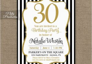 30th Birthday Party Invitations For Her Black Gold Glitter 20th