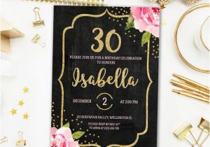 30th Birthday Party Invitations For Her Floral Invitation Chalkboard