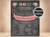 30th Birthday Present Ideas for Him Uk Uk 30th Birthday for Her Chalkboard 30th Birthday Poster