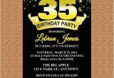 35th Birthday Invitations 35th Birthday Invitation Black and Gold Invitation Milestone