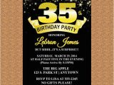 35th Birthday Party Invitations 35th Birthday Invitation Black and Gold Invitation Milestone