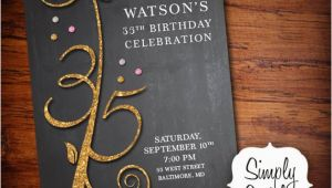 35th Birthday Party Invitations Items Similar to Glitter Glam 35th Birthday Invitation