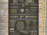 35th Birthday Present for Him 35th Birthday 1981 Chalkboard Poster Sign by Printsbymadesign
