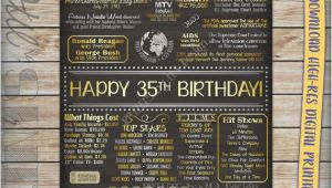 35th Birthday Present for Him 35th Birthday 1981 Chalkboard Poster Sign by Printsbymadesign
