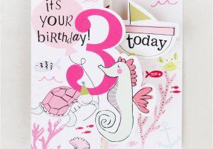 3rd Birthday Card Girl Fold Out Sealife 3rd Birthday Card for Girls Caroline