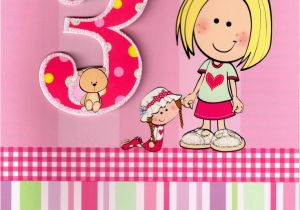 3rd Birthday Card Girl Girls 3rd Birthday 3 Three today Card Cards Love Kates