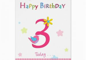 3rd Birthday Card Girl Happy 3rd Birthday Girl Card Zazzle