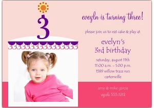 3rd Birthday Invitation Cards Cake Boy Photo Third Invitations